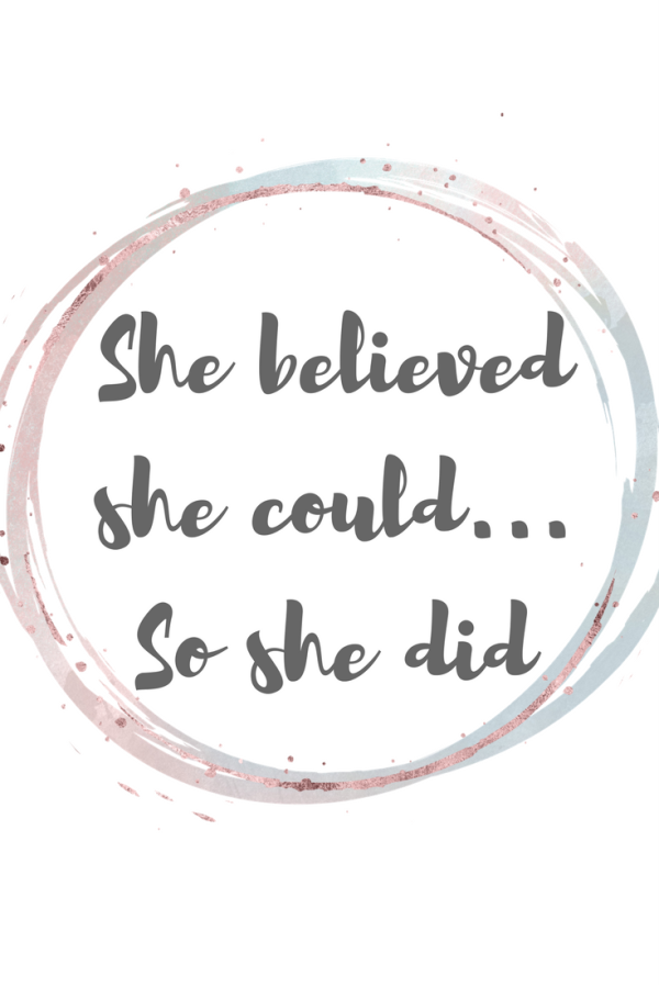Free printable birthing / labour affirmations. She believed she could so she did.