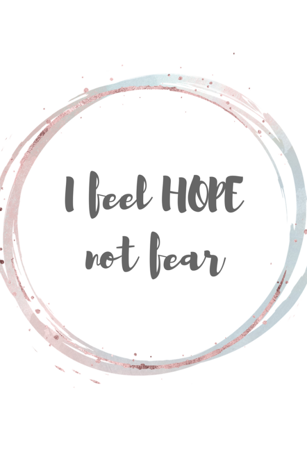 Free printable birthing / labour affirmations. I feel hope, not fear.