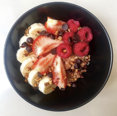 porridge with fruit toppings and jujube crunchy sprinkles